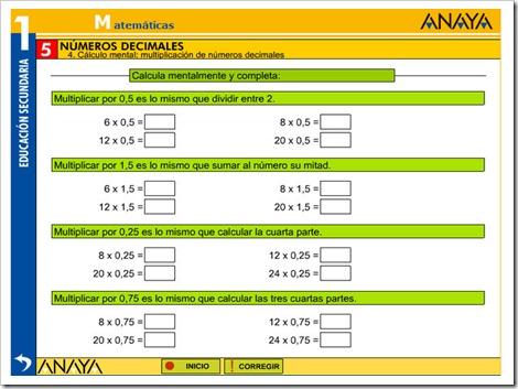 Cálculo mental multiplicaciones con decimales