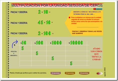 Multiplicación por unidad seguida de ceros